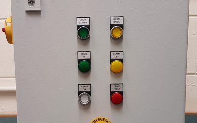 Furnace door control cabinet
